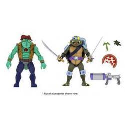Tortugas Ninja Pack de 2 Figuras Leather Head & Slash 18 cm