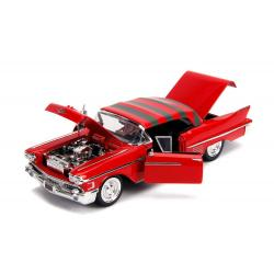 Nightmare on Elm Street Diecast Model American Horror Rides 1/24 1958 Cadillac with Figure