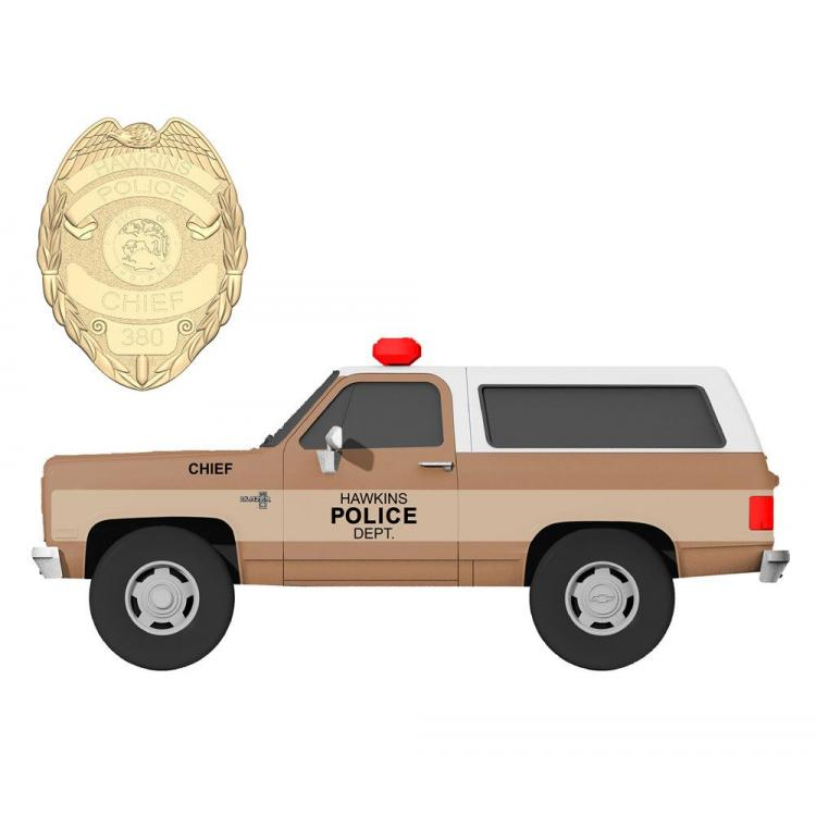 Stranger Things Diecast Model 1/24 Chief Hopper\'s 1980 Chevy K5 Blazer with Badge