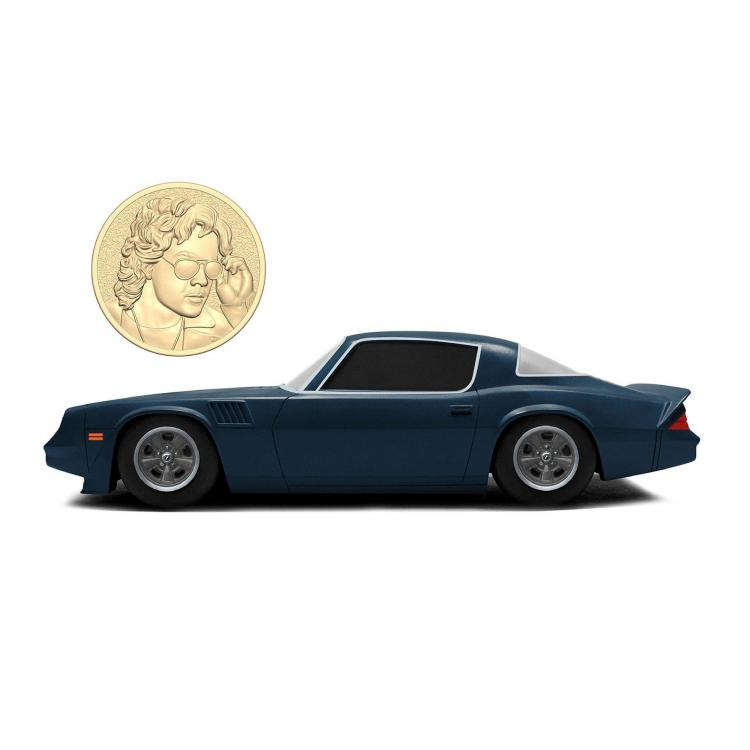 Stranger Things Diecast Model 1/24 Billy\'s 1979 Chevy Camaro Z28 with Collectible Coin