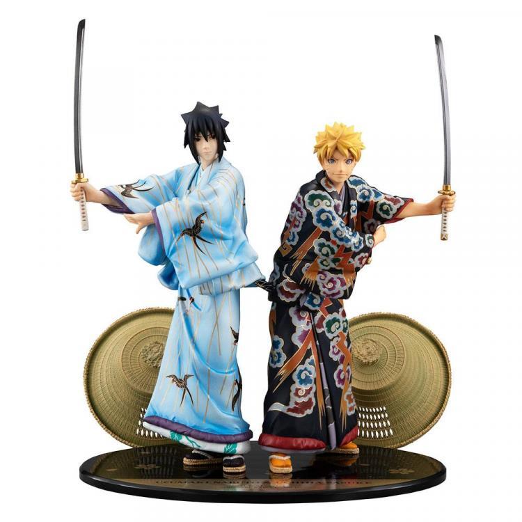 Naruto Pack de 2 Estatuas PVC G.E.M. Naruto & Sasuke Kabuki Ver. 23 cm